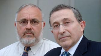 Rabbi Abraham Cooper, associate dean of the Simon Wiesenthal Center (L, and Rabbi Marvin Hier, founder and dean of the Simon Wiesenthal Center, commented on Friday's shooting at the Jewish Federation of Greater Seattle at a news conference in Los Angeles July 28, 2006. A woman was killed and five other women were wounded on Friday when a gunman opened fire at a Jewish organization in downtown Seattle that last weekend organized a rally in support of Israel.  REUTERS/Phil McCarten (UNITED STATES)