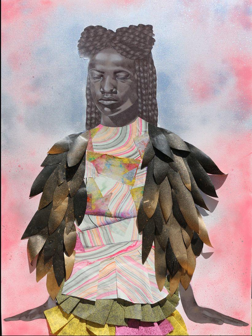 Jamea Richmond Edwards, <em>Levitate, 2016. </em>Mixed media on canvas.