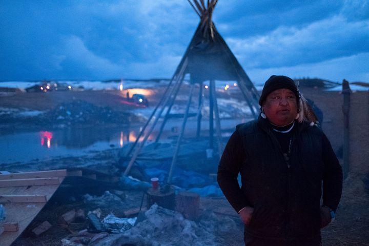 Dan Nanamkin, 49, of Nespelem, Washington, at the Oceti Sakowin campground on Tuesday, the night before a mandatory evacuatio