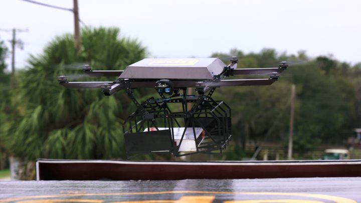 The drones can carry packages up to 10 pounds and fly for 30 minutes.