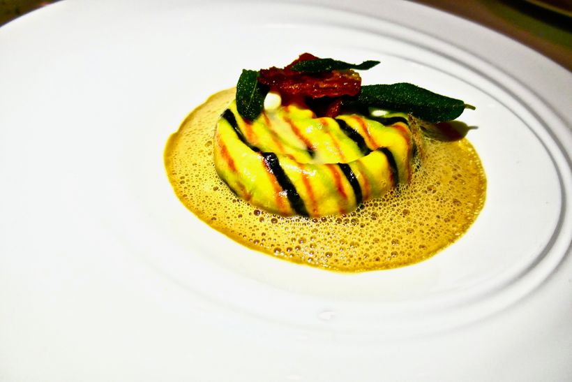 "Chef Brad Kilgore serves a tasty and visually pleasing Veal Raviolo ""Saltimbocca"" appetizer"