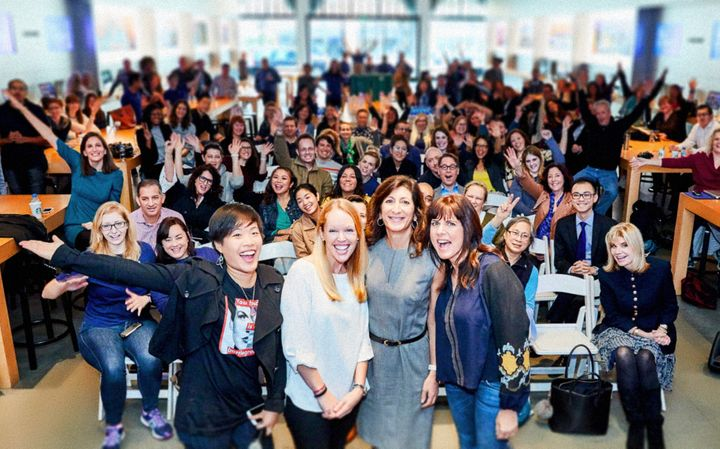 """<p>Panelists (foreground) from February's """"Women In Tech - The Latest Silver Bullet"""" discussion at Apple Pasadena.</p>"""