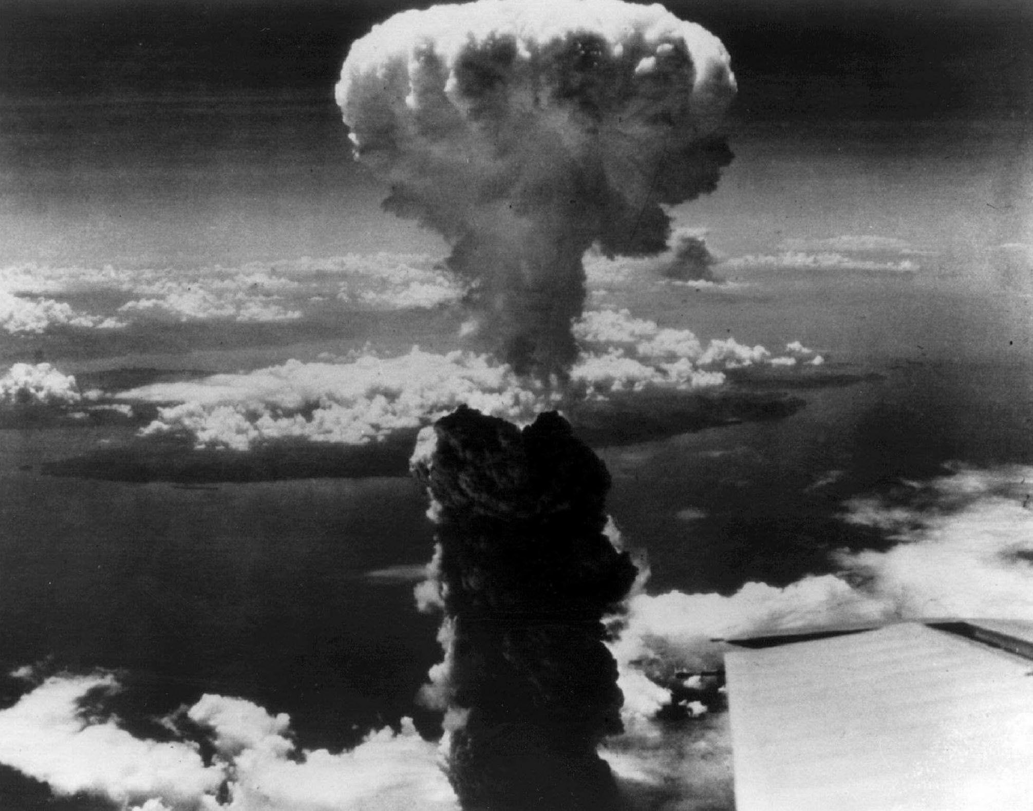 Smoke billows over Nagasaki, Japan after the atomic bomb was dropped on the city. August 9,