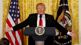 U.S. President Donald Trump speaks during a news conference at the White House in Washington, U.S., February 16, 2017.  REUTERS/Kevin Lamarque       TPX IMAGES OF THE DAY
