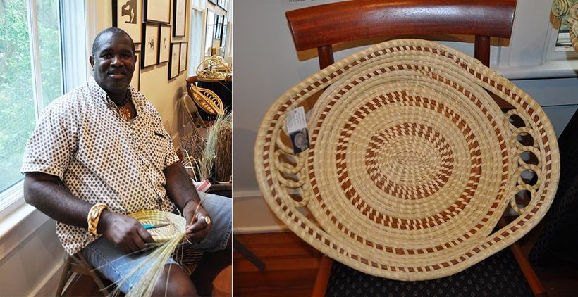 Michael Smalls, a descendant of the Gullah people, demonstrates the art of weaving baskets from native sea grass at the Coast