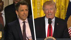 Seth Meyers' Fake Donald Trump Press Conference Gets Surprisingly