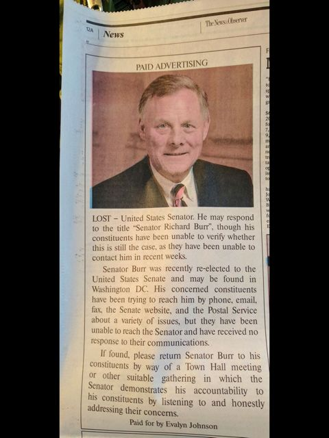 A lost ad for Sen. Richard Burr (R-N.C.) in North Carolina's News & Observer.