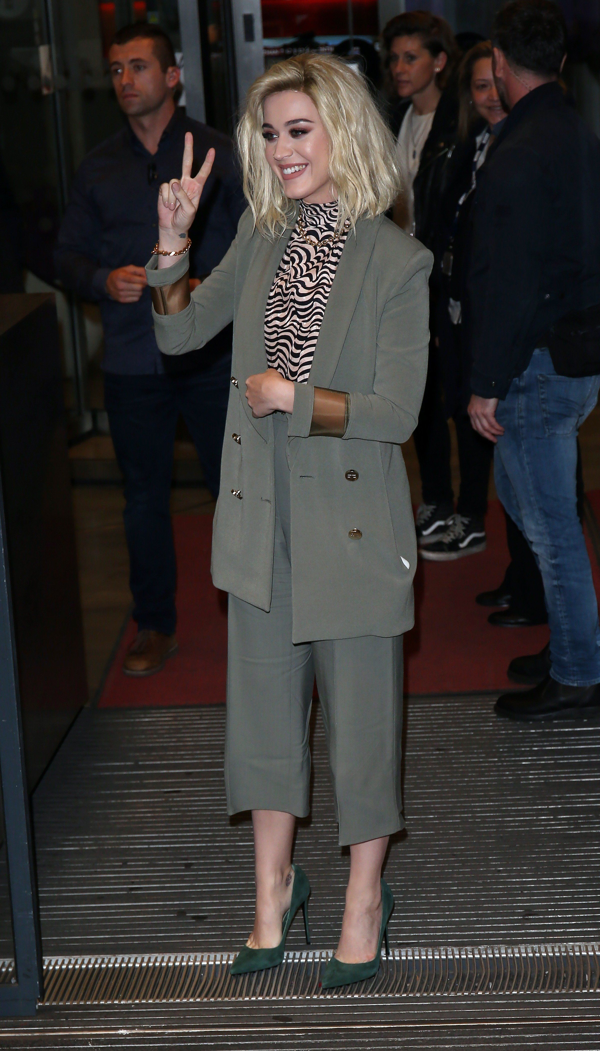 Katy Perry seen at BBC Radio One on Feb. 21.