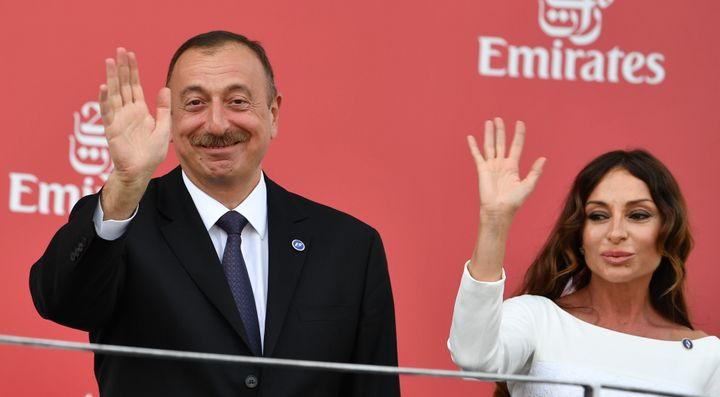Azerbaijani President Ilham Aliyev and his wife Mehriban Aliyeva, who is now vice president, in June 2016.