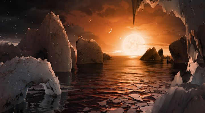 This illustration shows the possible surface of TRAPPIST-1f, one of the newly discovered planets in the TRAPPIST-1 system. Sc