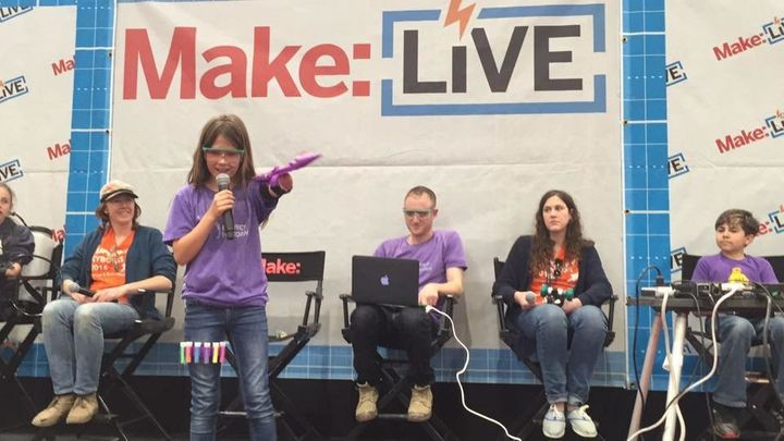 Jordan presented an earlier version of her glitter blaster at Maker Faire in the Bay Area last May.