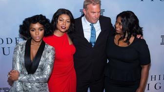 NEW YORK, NY - DECEMBER 10:  (L-R) Actors Janelle Monae, Taraji P. Henson; Kevin Costner and Octavia Spencer attend the 'Hidden Figures' New York special screening on December 10, 2016 in New York City.  (Photo by Michael Stewart/Getty Images)