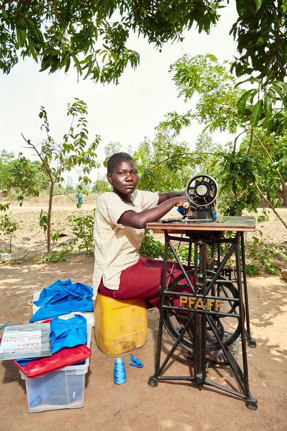Lexa Salani graduated from Green Malata in June of 2016. Here she sits behind her sowing machine near Luchenza, southern Mala