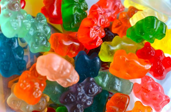 """Gelatin. That's what most gummy bears are made of. It's actually the <a href=""""http://sweets.seriouseats.com/2012/06/taste-tes"""