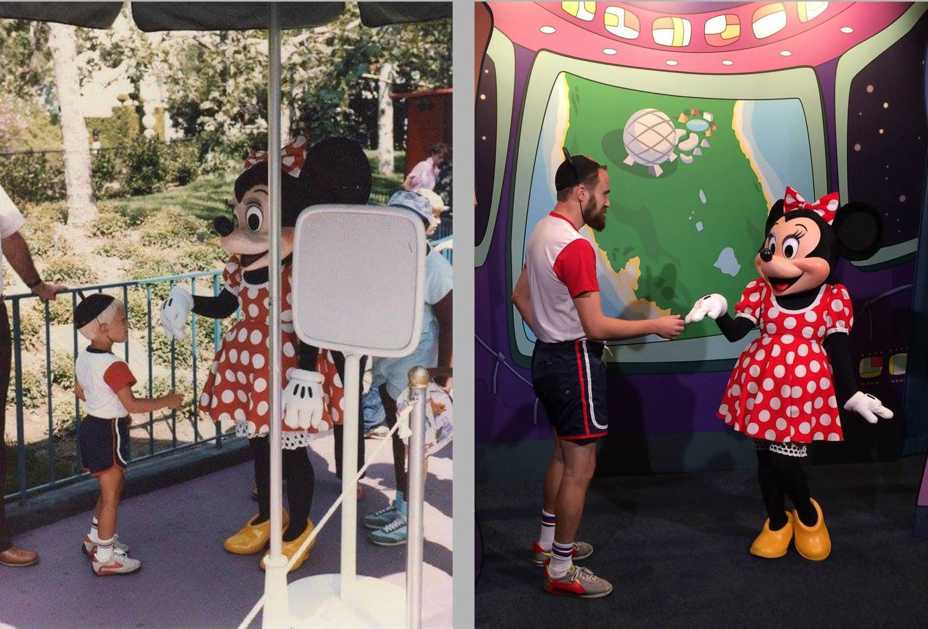 With help from his family, Brian Rush recreated a photo he took with Minnie Mouse as a kid.