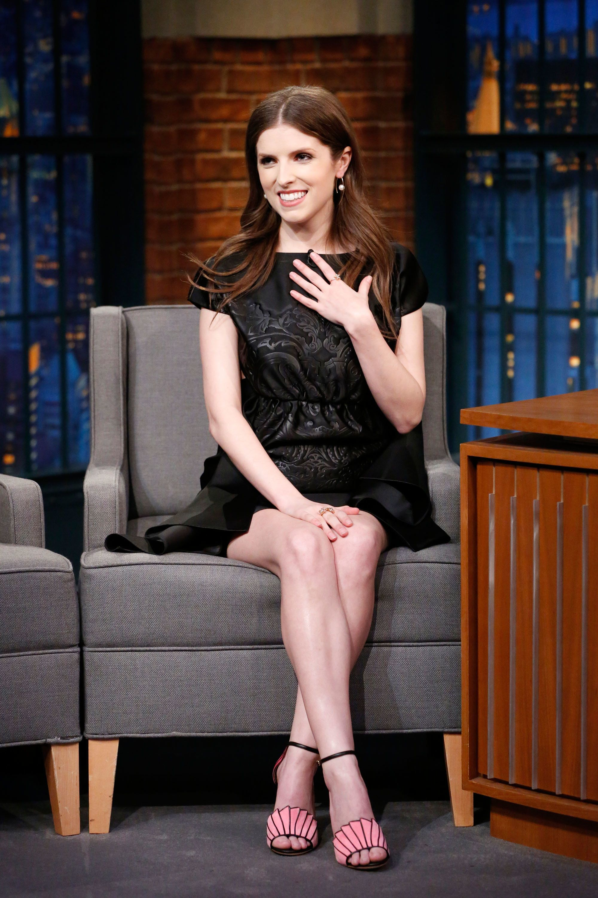 LATE NIGHT WITH SETH MEYERS -- Episode 492 -- Pictured: Actress Anna Kendrick during an interview on February 20, 2017 -- (Photo by: Lloyd Bishop/NBC/NBCU Photo Bank via Getty Images)