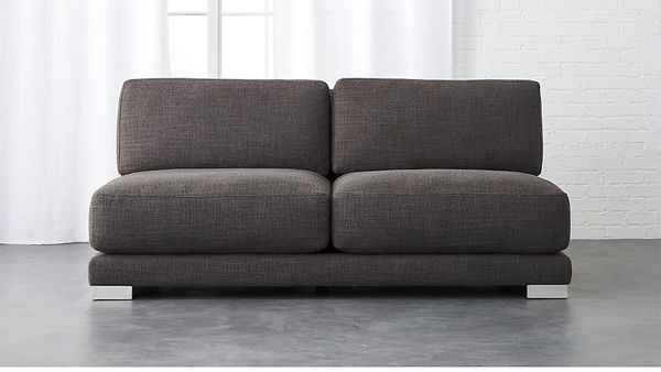 "<strong>Gybson earth grey loveseat</strong>, <strong>$999, from <a href=""https://www.cb2.com/gybson-earth-grey-loveseat/s2528"