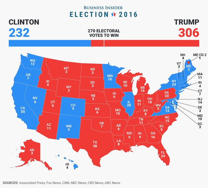 """The 2016 electoral map, as compiled by <a rel=""""nofollow"""" href=""""http://static5.businessinsider.com/image/583c8ee3ba6eb620008b6"""