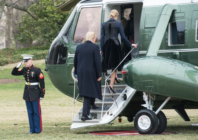 President Donald Trump and his daughter Ivanka board Marine One at the White House in Washington, D.C.,...