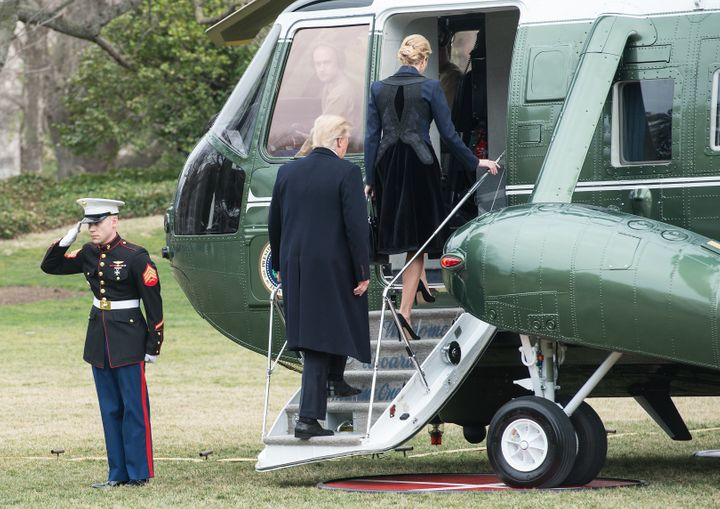 President Donald Trump and his daughter Ivanka board Marine One at the White House in Washington, D.C., on Feb. 1, 2017.