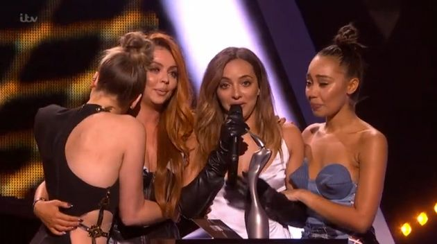 Little Mix on stage at the