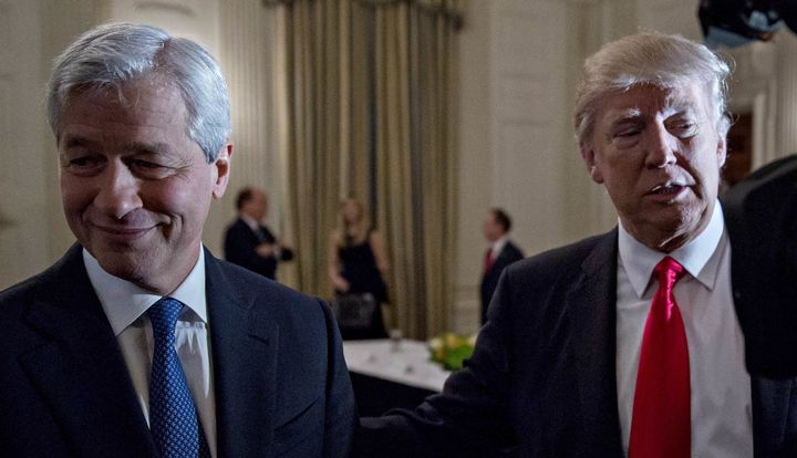 JPMorgan Chase CEO Jamie Dimon with President Donald Trump at a Strategic and Policy Forum meeting in the White House on