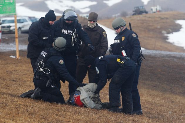 Authorities in North Dakota arrest a man hours after a deadline passed for Dakota Access Pipeline protesters...