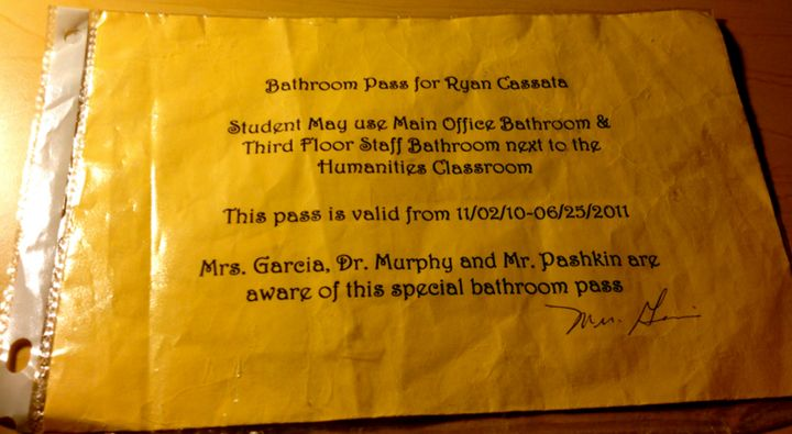 Bathroom Pass for Ryan Cassata