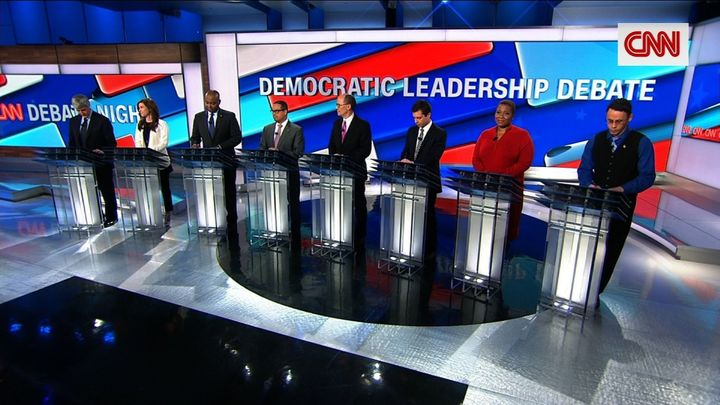 "The eight candidates running for chair of the Democratic National Committee, as seen on CNN's ""Democratic Leadership Debate"""