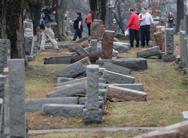 Around 150 headstones at the Chesed Shel Emeth Cemetry in St Louis, Missouri, weretoppled last...