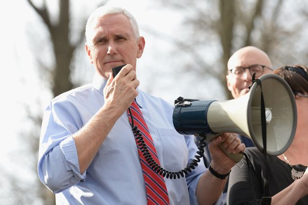 Vice President Pence addressing the crowd at the