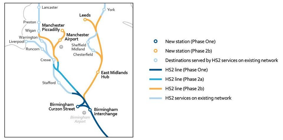 The route through Manchester and