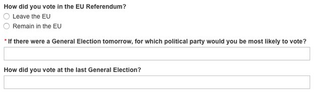 The BBC asks applicants 'How did you vote in the EU referendum?' and 'How did you vote at the last General