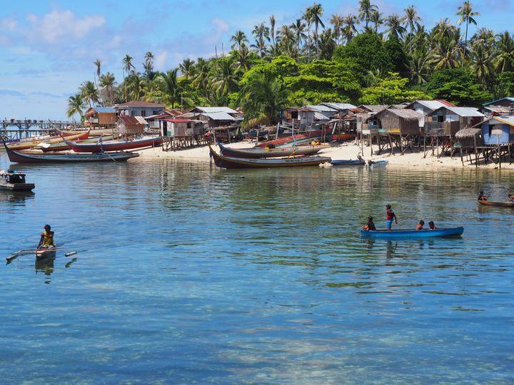 <p>A Bajau Laut village at Mabul Island, Sabah, Malaysian Borneo</p>