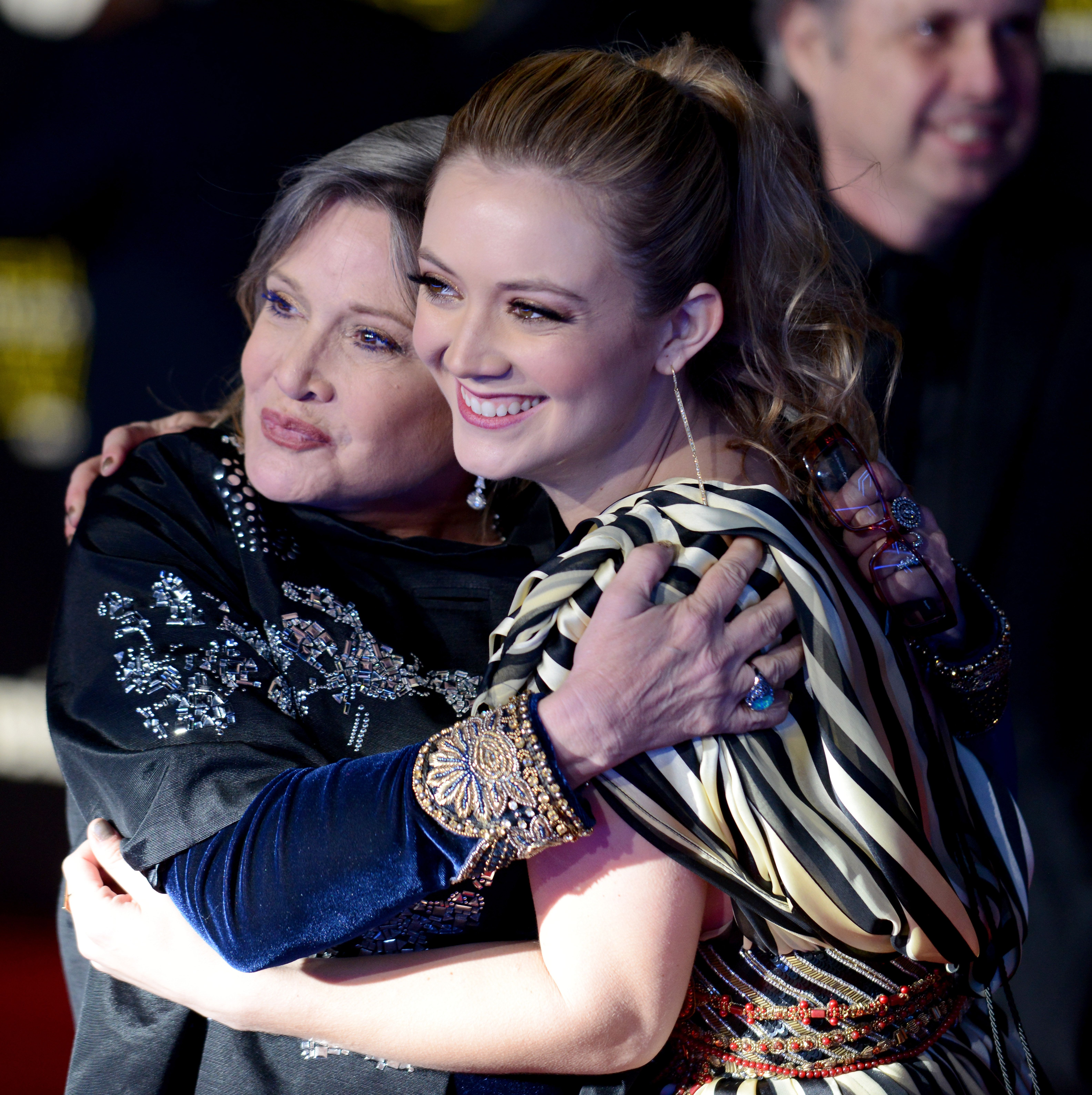 HOLLYWOOD, CA - DECEMBER 14:  Actress Carrie Fisher and daughter/actress Billie Lourd arrive for the Premiere Of Walt Disney Pictures And Lucasfilm's 'Star Wars: The Force Awakens'  held on December 14, 2015 in Hollywood, California.  (Photo by Albert L. Ortega/Getty Images)
