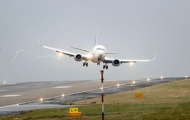 A plane comes in to land at Leeds Bradford