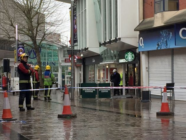 The scene in Wolverhampton city centre after a woman died when she was hit by a piece of