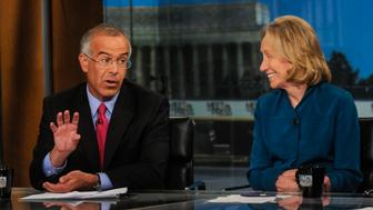 MEET THE PRESS -- Pictured: (l-r)   David Brooks, Columnist, The New York Times, left, and Doris Kearns Goodwin, Presidential Historian, right,  appear on 'Meet the Press' in Washington, D.C., Sunday, August 25, 2013.   (Photo by: William B. Plowman/NBC/NBC NewsWire via Getty Images)