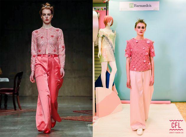Lace top: £8.99, sequin sparkle under vest: £7.99, wide-legged trousers: £19.99, trainers:...