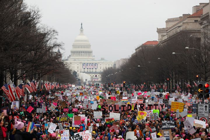 Protesters in Washington, D.C. during the Women's March. Jan. 21, 2017.