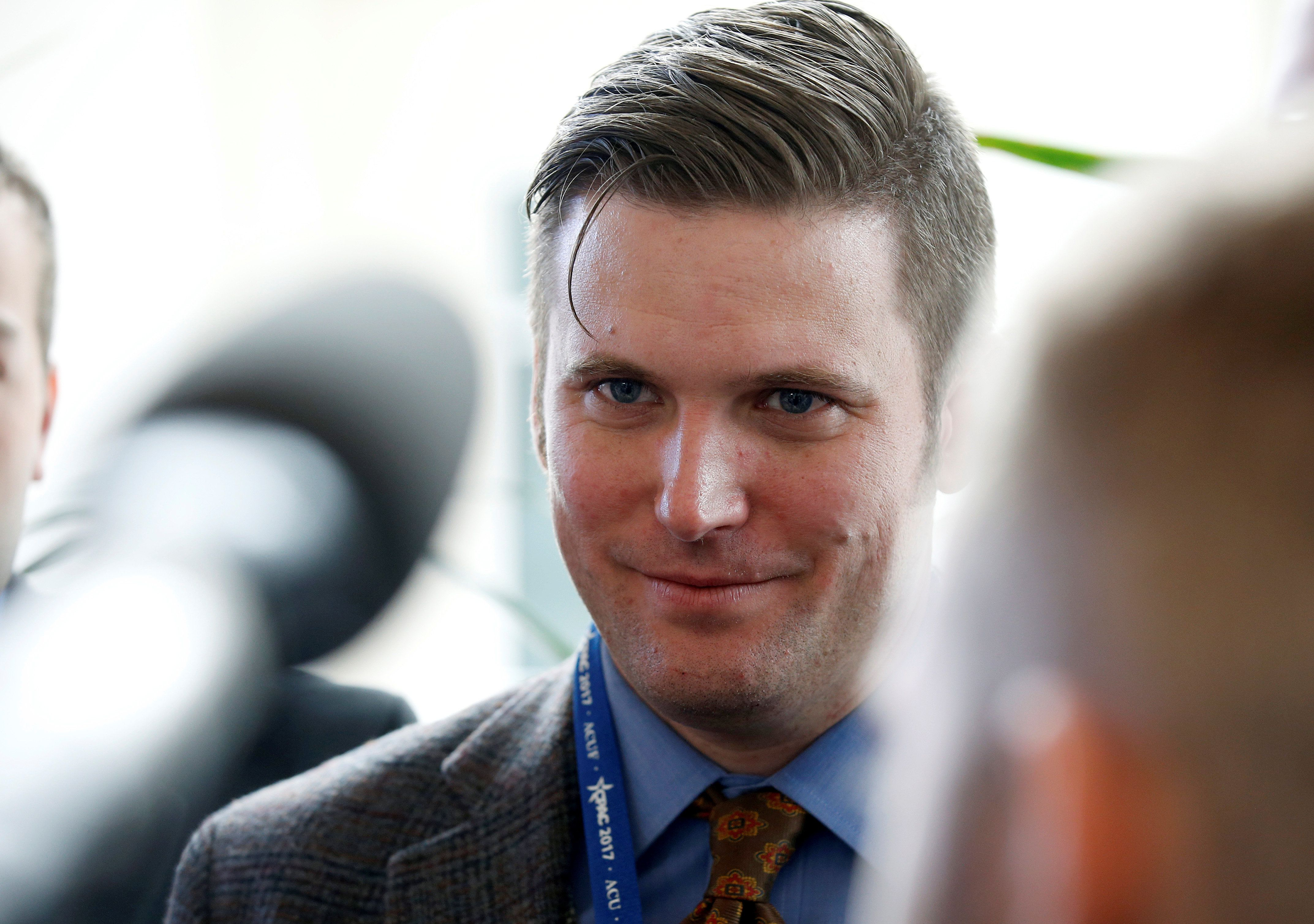 "Richard Spencer, a leader and spokesperson for the so-called ""alt-right"" movement, speaks to the media at the Conservative Political Action Conference (CPAC) in National Harbor, Maryland, U.S., February 23, 2017.      REUTERS/Joshua Roberts"