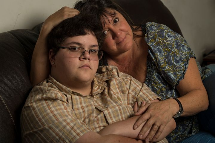Gavin Grimm, 17, with his mom. Grimm is suing his school district to use bathrooms that match his gender identity. The c