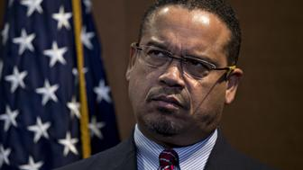 Representative Keith Ellison, a Democrat from Minnesota, listens during a news conference on Capitol Hill in Washington, D.C., U.S., on Thursday, Dec. 8, 2016. Ellison, the first Muslim elected to Congress, is running for the Democratic National Committee (DNC) chairman position. Photographer: Andrew Harrer/Bloomberg via Getty Images