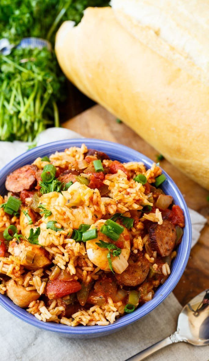 "<strong>Get the <a href=""http://spicysouthernkitchen.com/slow-cooker-jambalaya/"" target=""_blank"">Slow Cooker Jambalaya recipe"