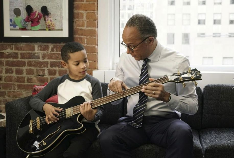 Lester Holt with 7-year-old Jaden