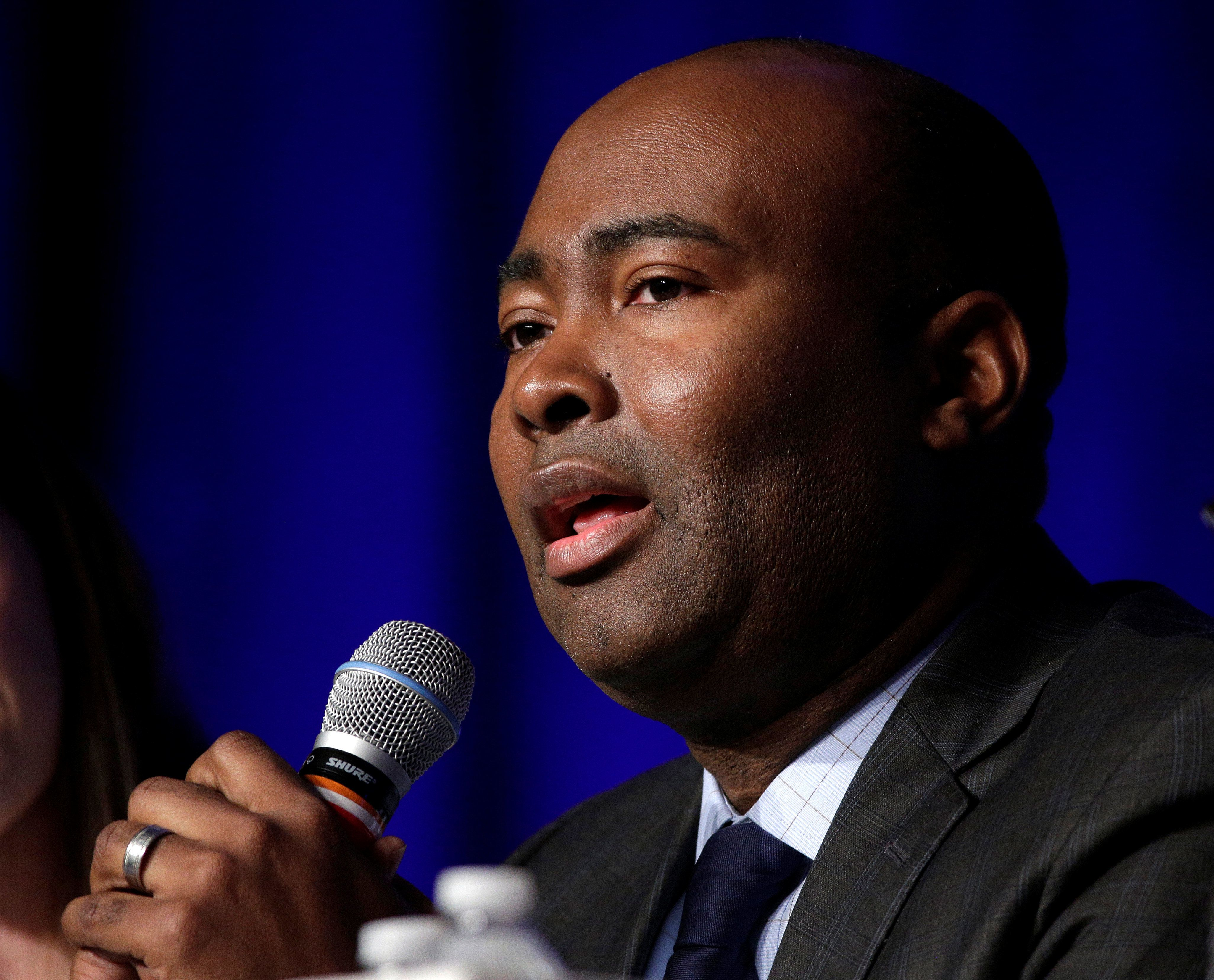 South Carolina Democratic Party Chair Jaime Harrisonspeaks during a Democratic National Committee forum in Baltimore&nb