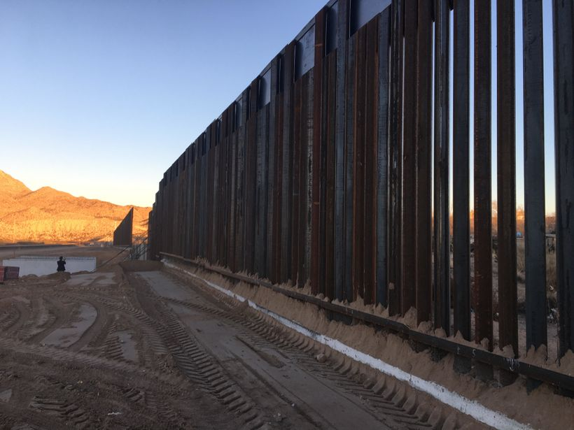 A segment of border fence being constructed near Anapra NM and Juarez, Mexico. Construction has been underway for years.