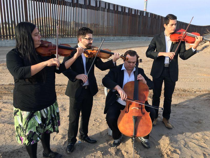 UTEP String Quartet: Sandra Rivera, Eduardo Garcia, Nathan Black, Orlando Barajas- perform a piece by Mexcian composer Silves