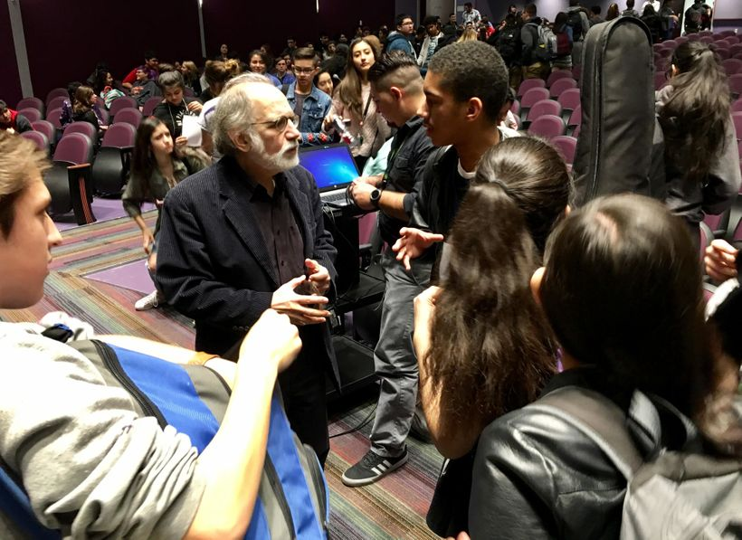 <em>Music Unwound</em> Director Joe Horowitz engaging students at Eastlake High School near El PASO, as part of the Festival'