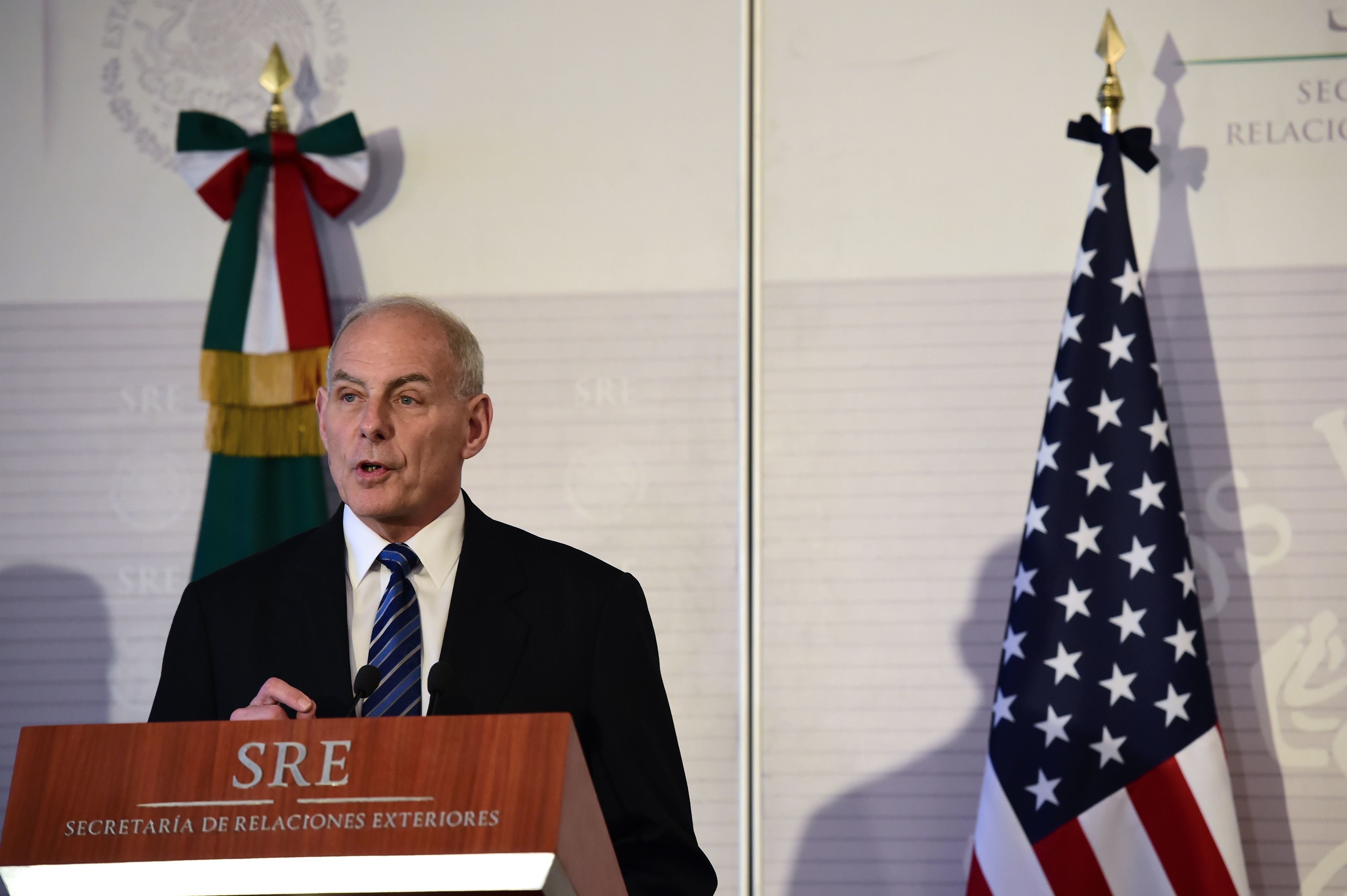Homeland Security Secretary John Kelly speaks during a press conference in Mexico.